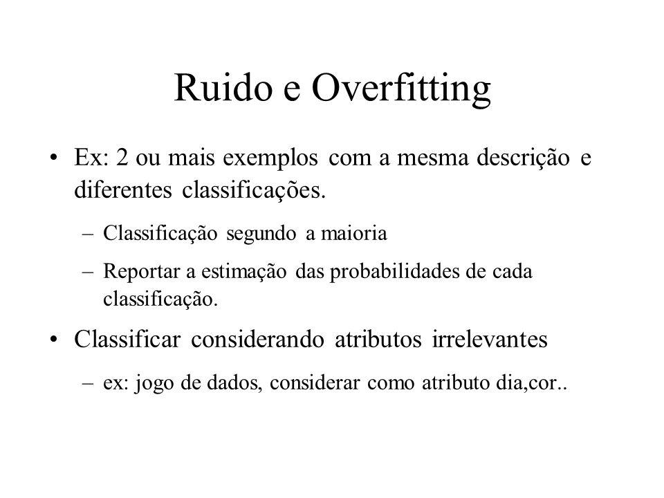 Ruido e Overfitting Ex: 2 ou mais exemplos com a mesma descrição e diferentes classificações. Classificação segundo a maioria.