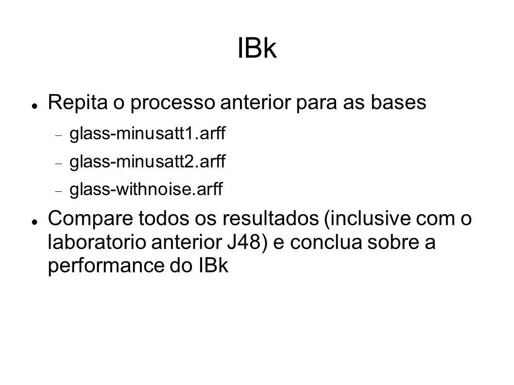 IBk Repita o processo anterior para as bases