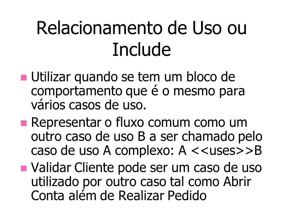 Relacionamento de Uso ou Include