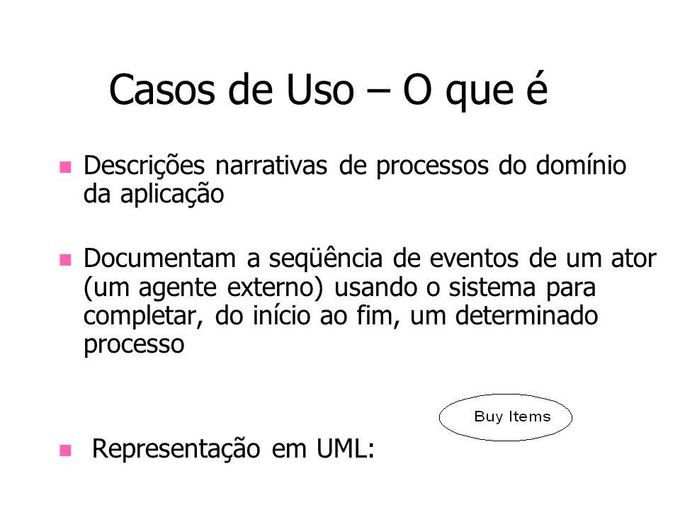 Casos de Uso – O que é Descrições narrativas de processos do domínio da aplicação.