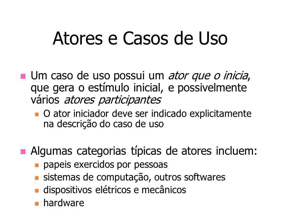 Atores e Casos de UsoUm caso de uso possui um ator que o inicia, que gera o estímulo inicial, e possivelmente vários atores participantes.