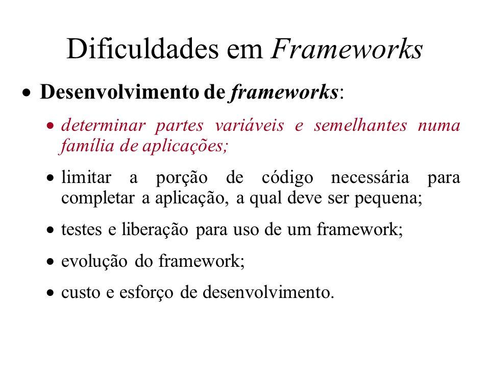 Dificuldades em Frameworks