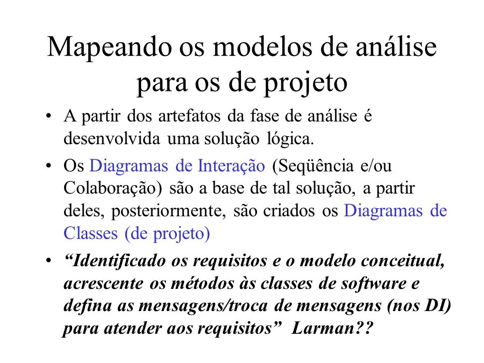 Mapeando os modelos de análise para os de projeto