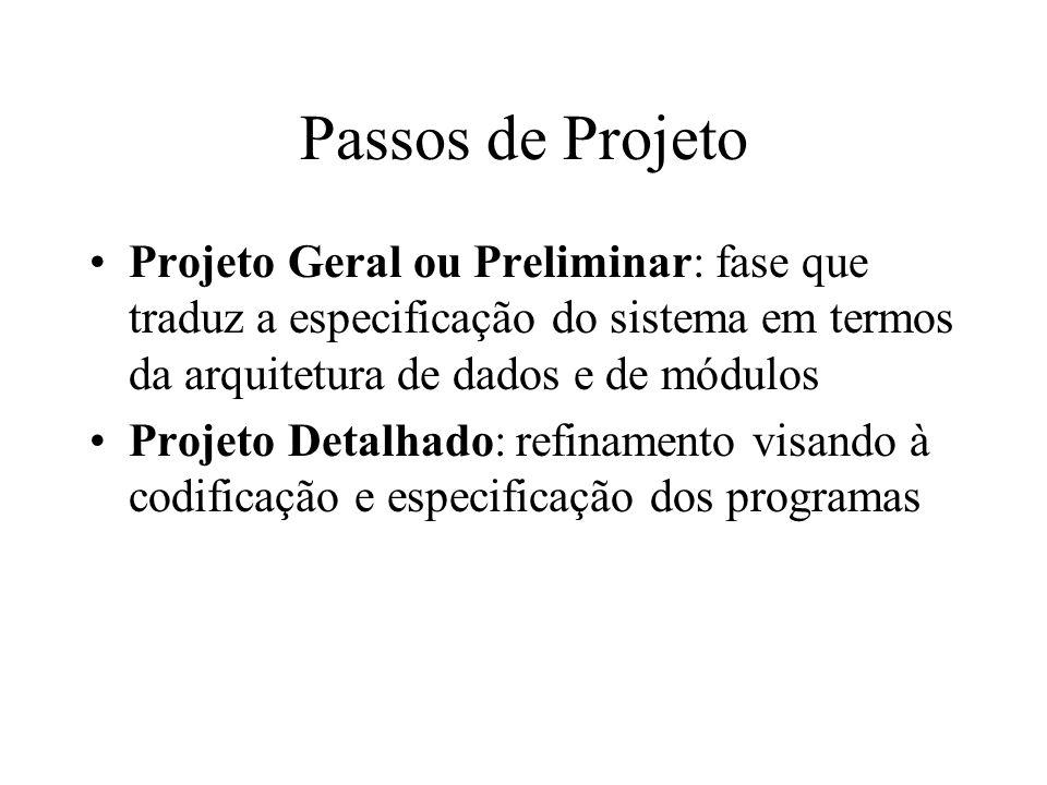 Passos de Projeto Projeto Geral ou Preliminar: fase que traduz a especificação do sistema em termos da arquitetura de dados e de módulos.