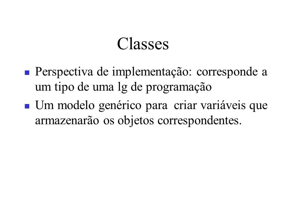 Classes Perspectiva de implementação: corresponde a um tipo de uma lg de programação.