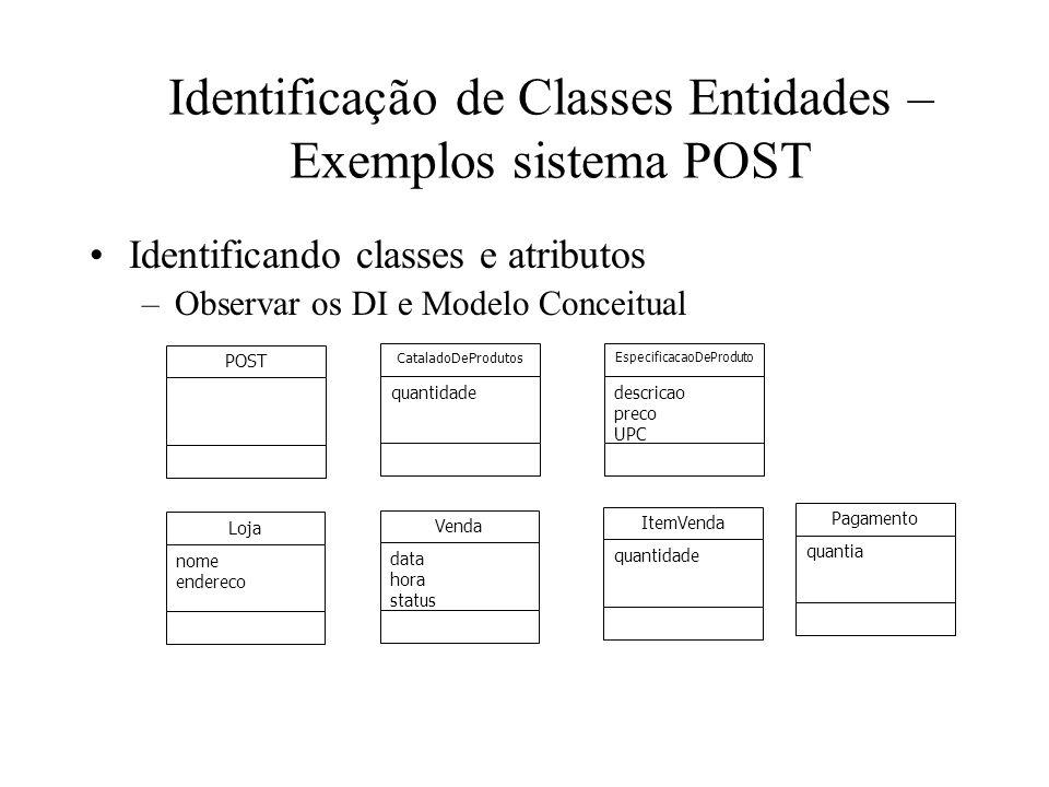 Identificação de Classes Entidades – Exemplos sistema POST