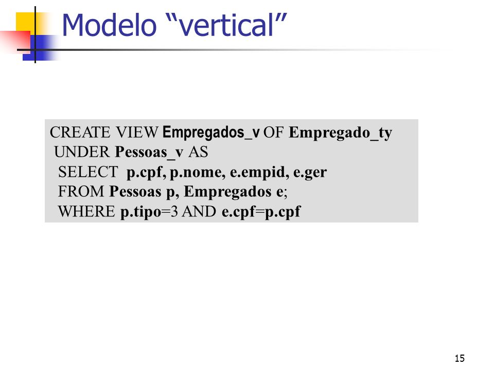 Modelo vertical CREATE VIEW Empregados_v OF Empregado_ty