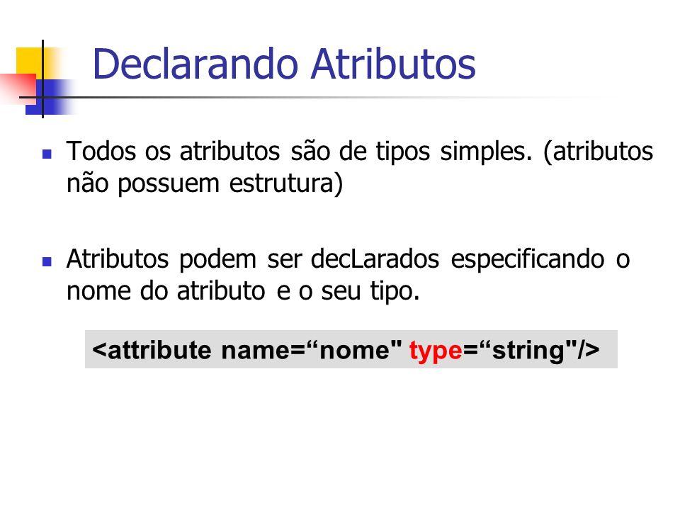 Declarando Atributos Todos os atributos são de tipos simples. (atributos não possuem estrutura)