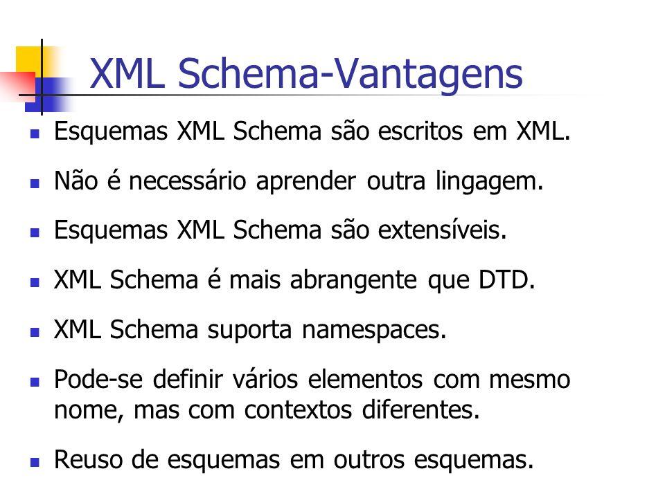 XML Schema-Vantagens Esquemas XML Schema são escritos em XML.