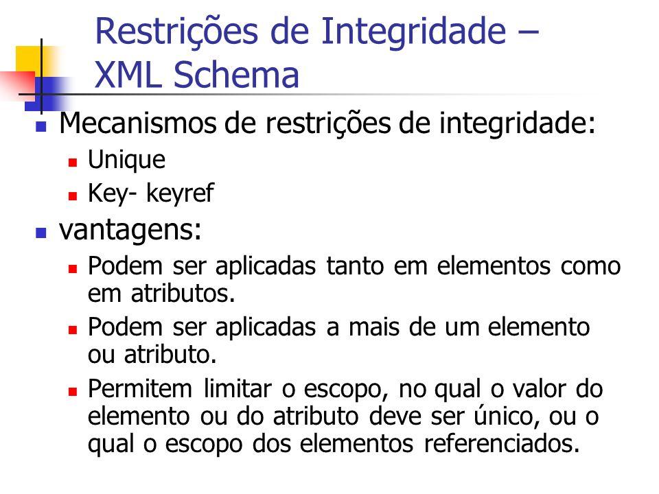 Restrições de Integridade – XML Schema