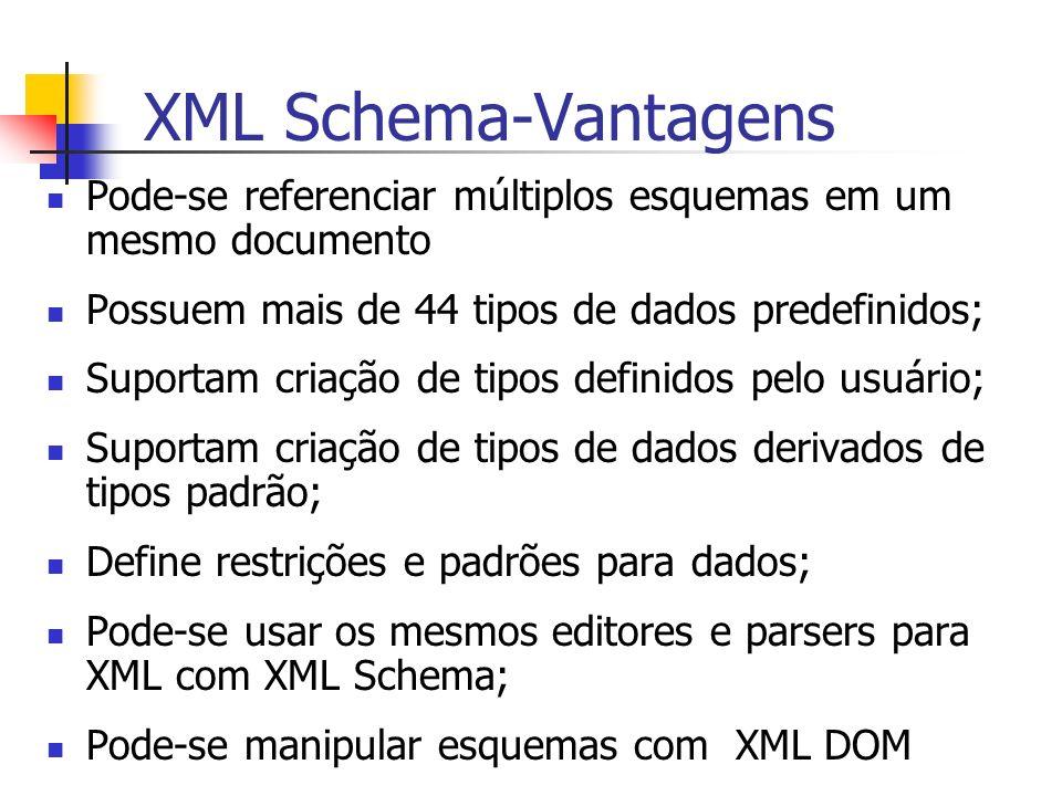 XML Schema-Vantagens Pode-se referenciar múltiplos esquemas em um mesmo documento. Possuem mais de 44 tipos de dados predefinidos;