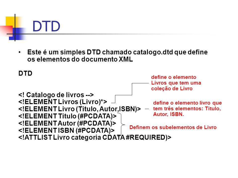DTD Este é um simples DTD chamado catalogo.dtd que define os elementos do documento XML. DTD. <! Catalogo de livros -->