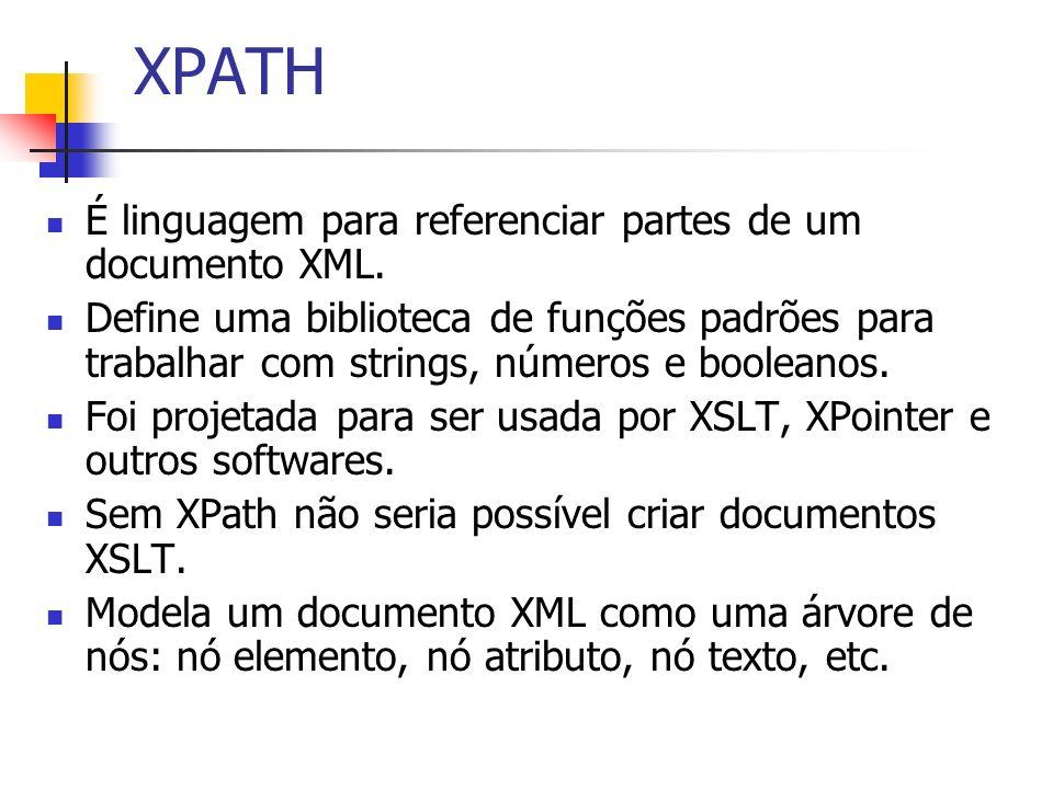 XPATH É linguagem para referenciar partes de um documento XML.