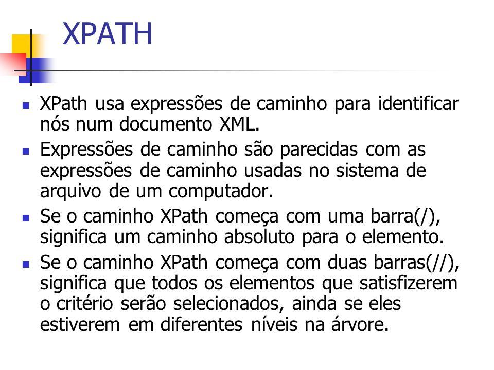 XPATH XPath usa expressões de caminho para identificar nós num documento XML.