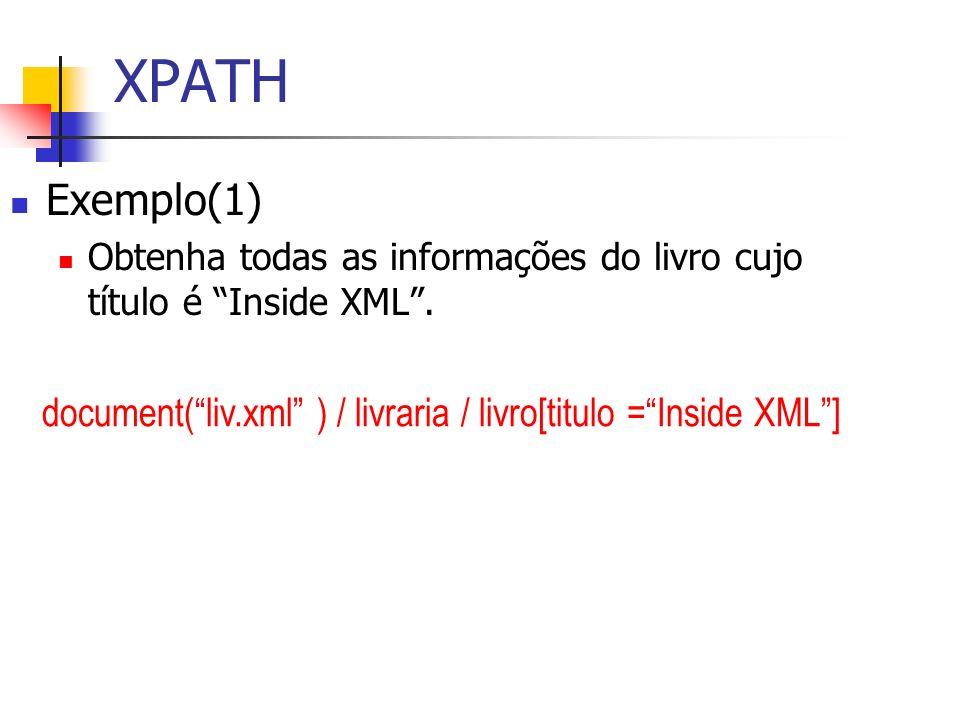 XPATHExemplo(1) Obtenha todas as informações do livro cujo título é Inside XML .