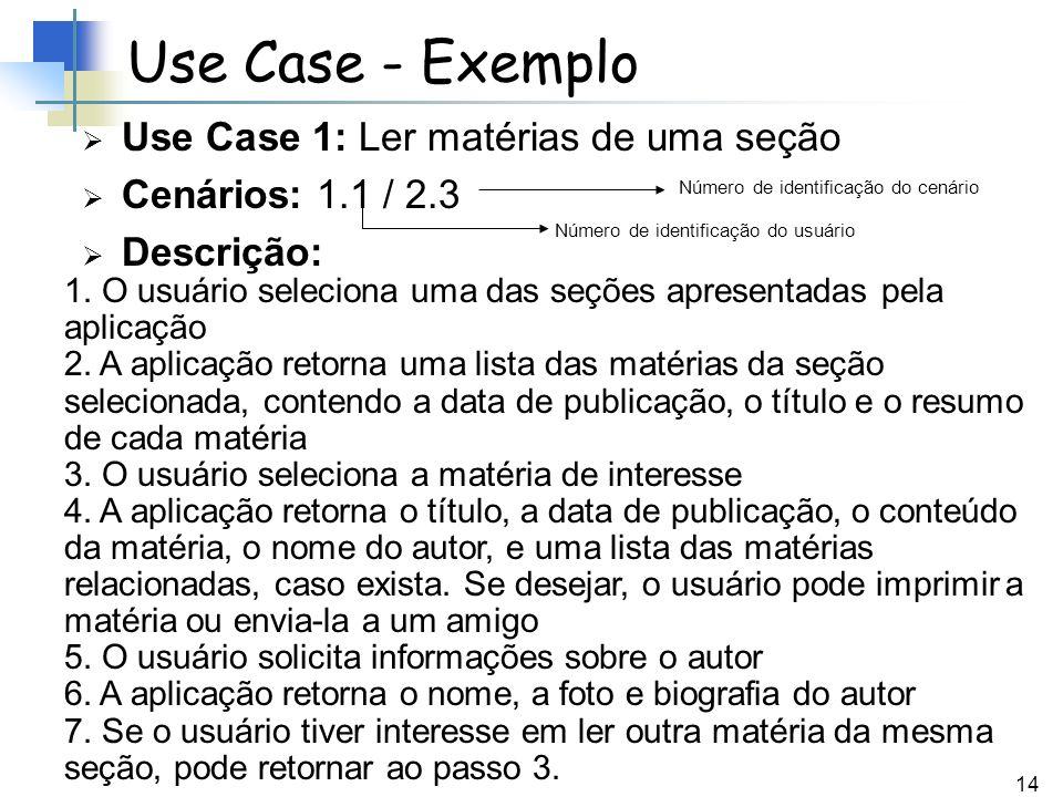 Use Case - Exemplo Use Case 1: Ler matérias de uma seção