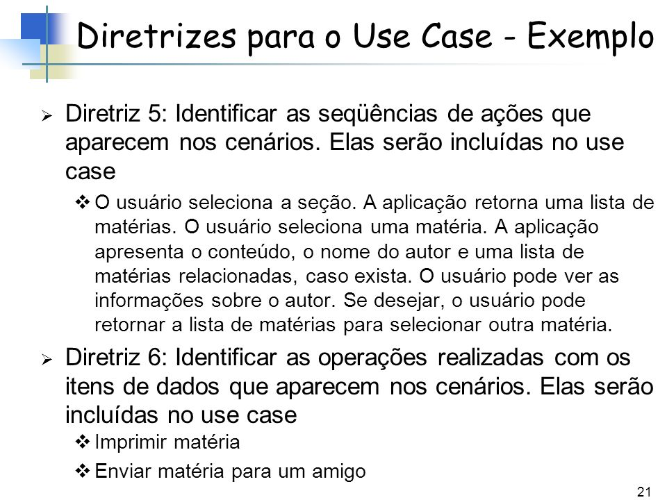 Diretrizes para o Use Case - Exemplo