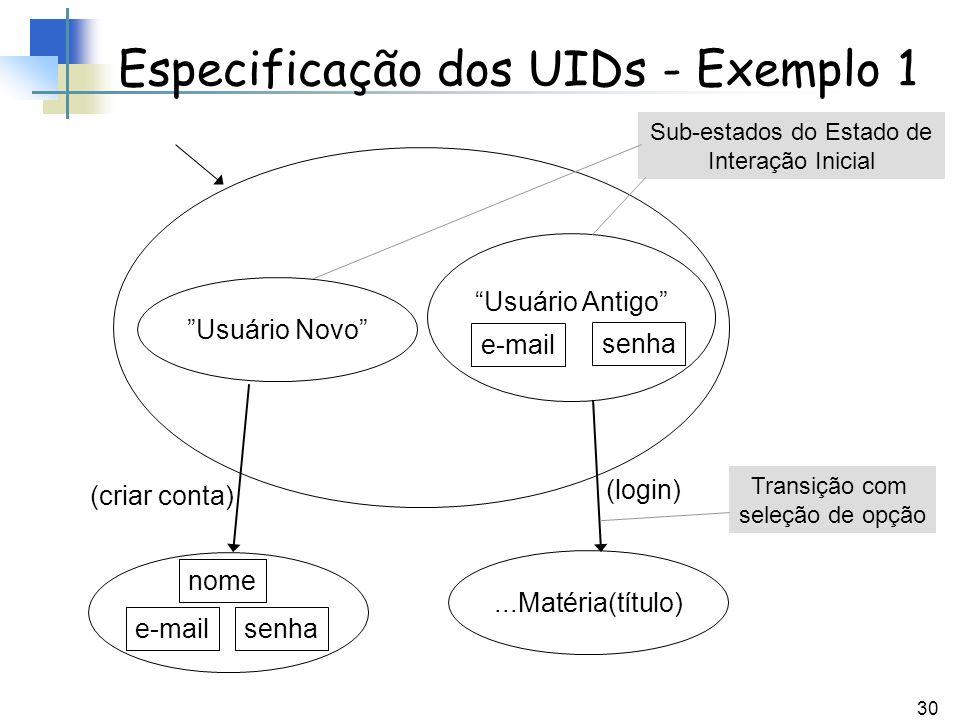 Especificação dos UIDs - Exemplo 1