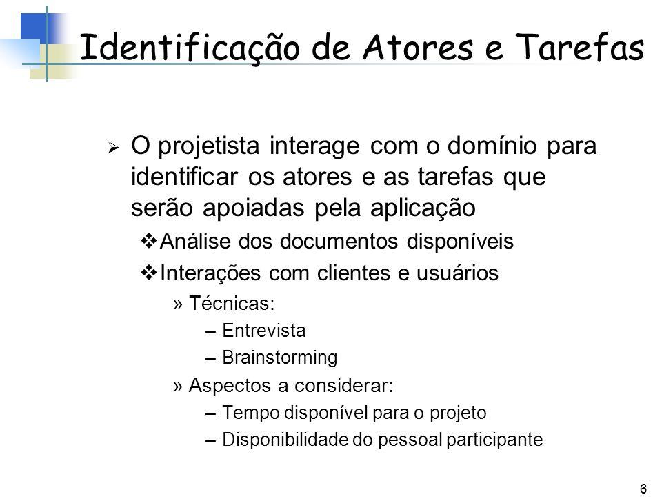 Identificação de Atores e Tarefas