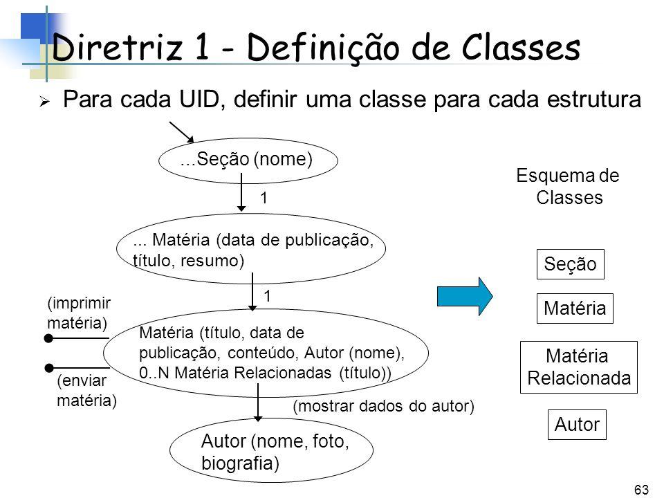 Diretriz 1 - Definição de Classes
