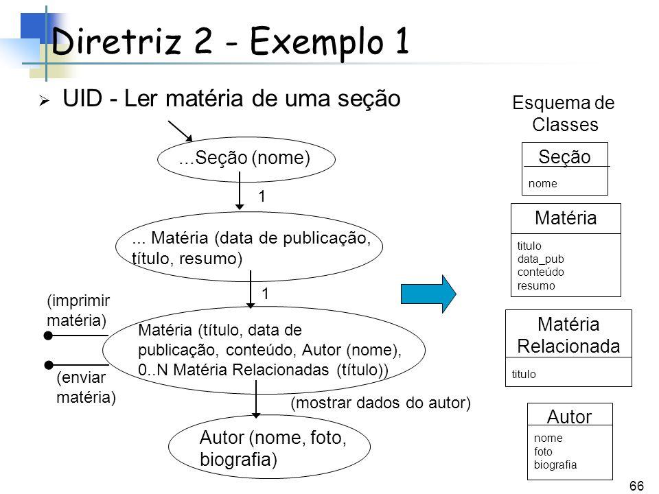 Diretriz 2 - Exemplo 1 UID - Ler matéria de uma seção Esquema de
