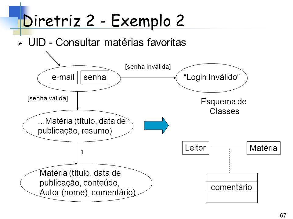 Diretriz 2 - Exemplo 2 UID - Consultar matérias favoritas e-mail senha