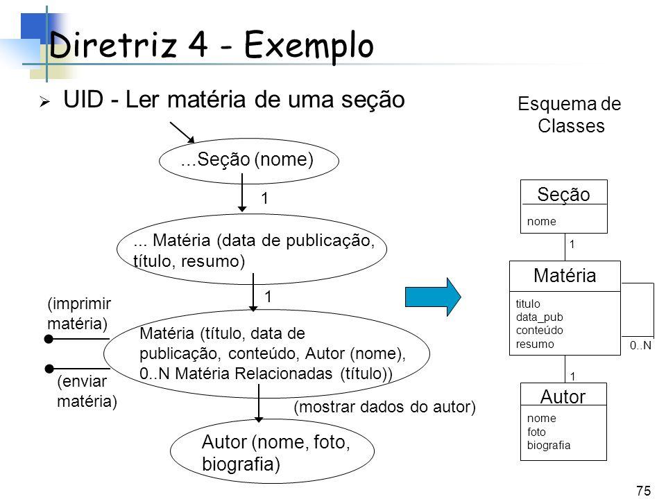 Diretriz 4 - Exemplo UID - Ler matéria de uma seção Esquema de Classes