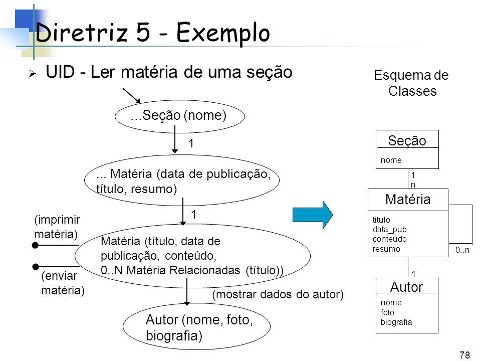 Diretriz 5 - Exemplo UID - Ler matéria de uma seção Esquema de Classes