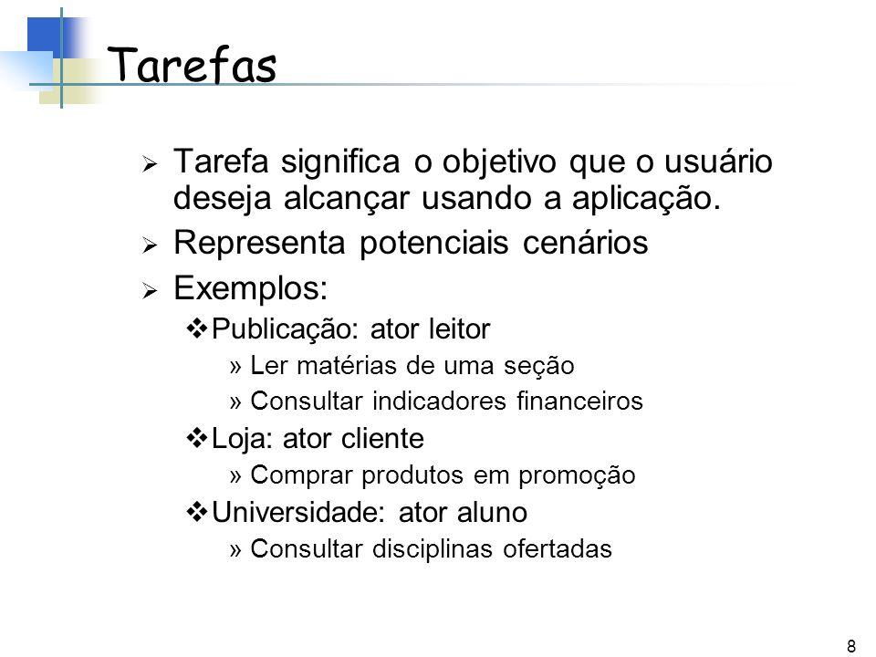 Tarefas Tarefa significa o objetivo que o usuário deseja alcançar usando a aplicação. Representa potenciais cenários.