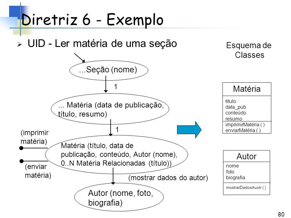 Diretriz 6 - Exemplo UID - Ler matéria de uma seção Esquema de Classes