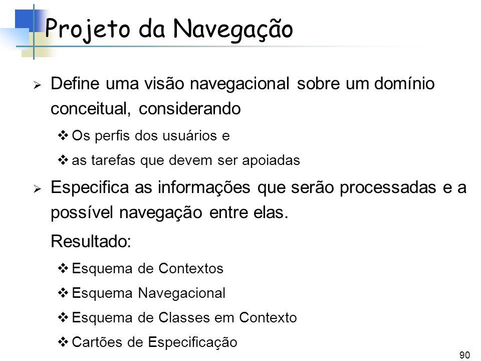 Projeto da Navegação Define uma visão navegacional sobre um domínio conceitual, considerando. Os perfis dos usuários e.