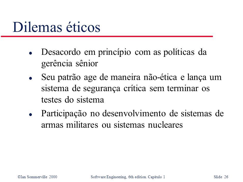 Dilemas éticos Desacordo em princípio com as políticas da gerência sênior.