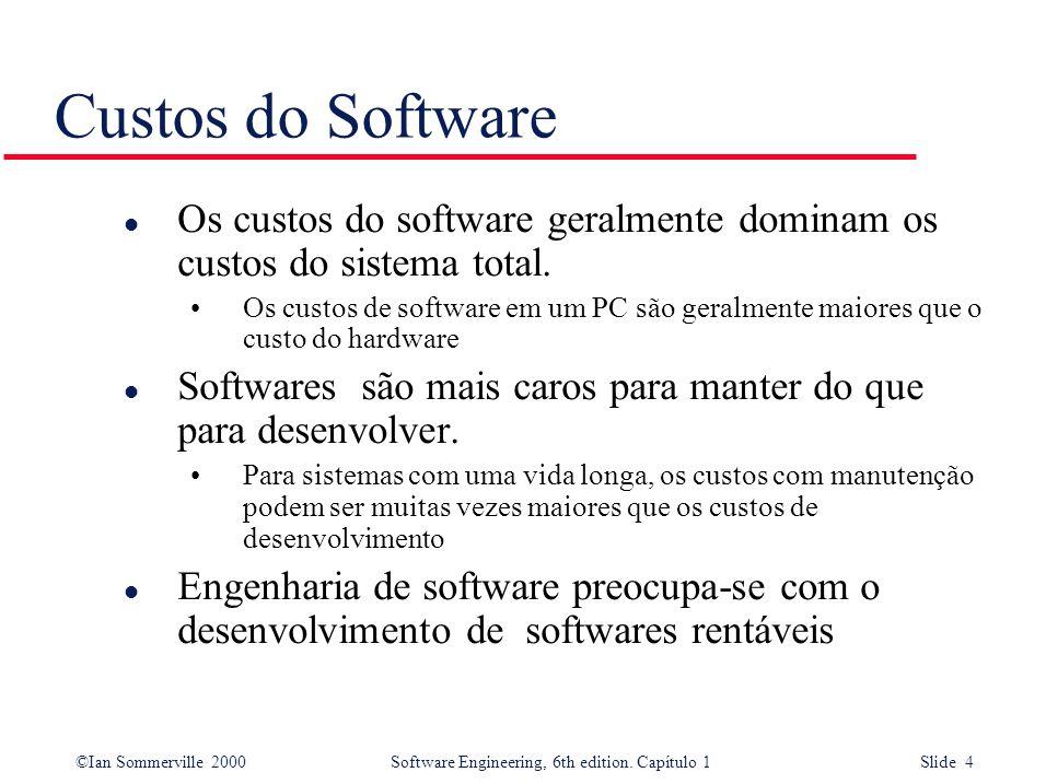Custos do SoftwareOs custos do software geralmente dominam os custos do sistema total.