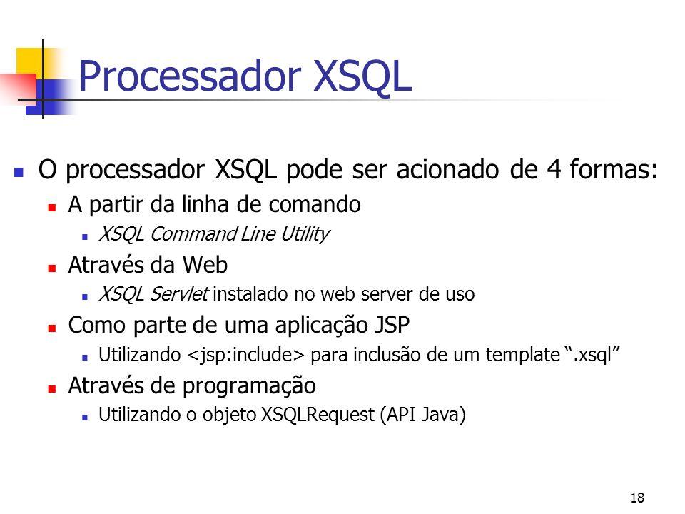 Processador XSQL O processador XSQL pode ser acionado de 4 formas: