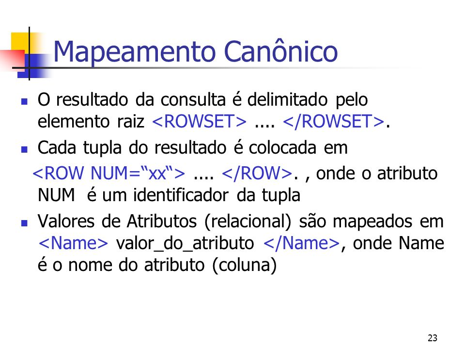 Mapeamento Canônico O resultado da consulta é delimitado pelo elemento raiz <ROWSET> .... </ROWSET>.