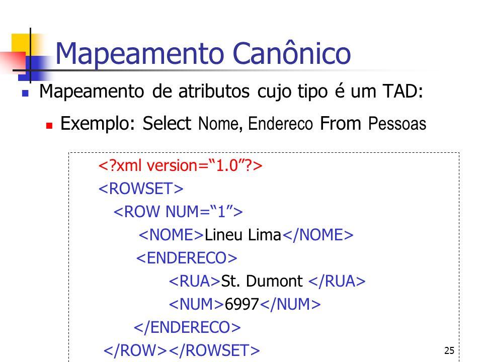Mapeamento Canônico Mapeamento de atributos cujo tipo é um TAD: