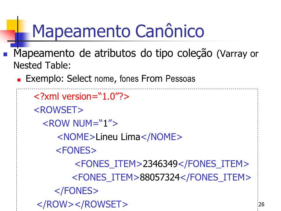 Mapeamento Canônico Mapeamento de atributos do tipo coleção (Varray or Nested Table: Exemplo: Select nome, fones From Pessoas.