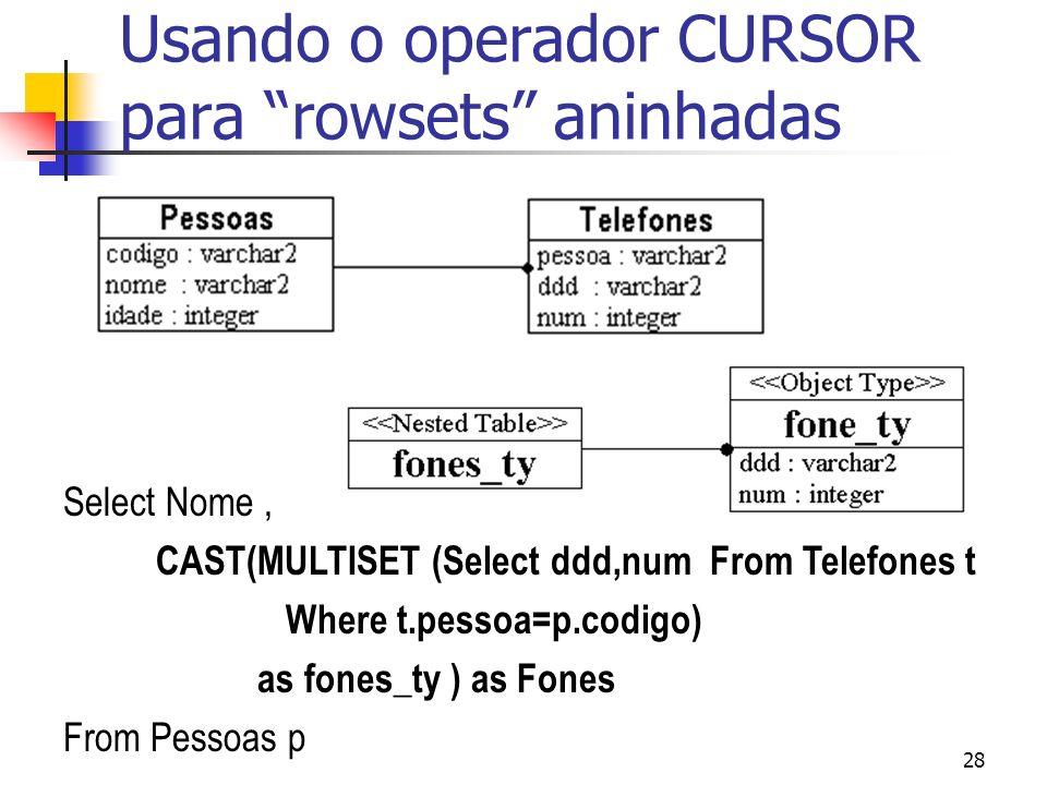 Usando o operador CURSOR para rowsets aninhadas