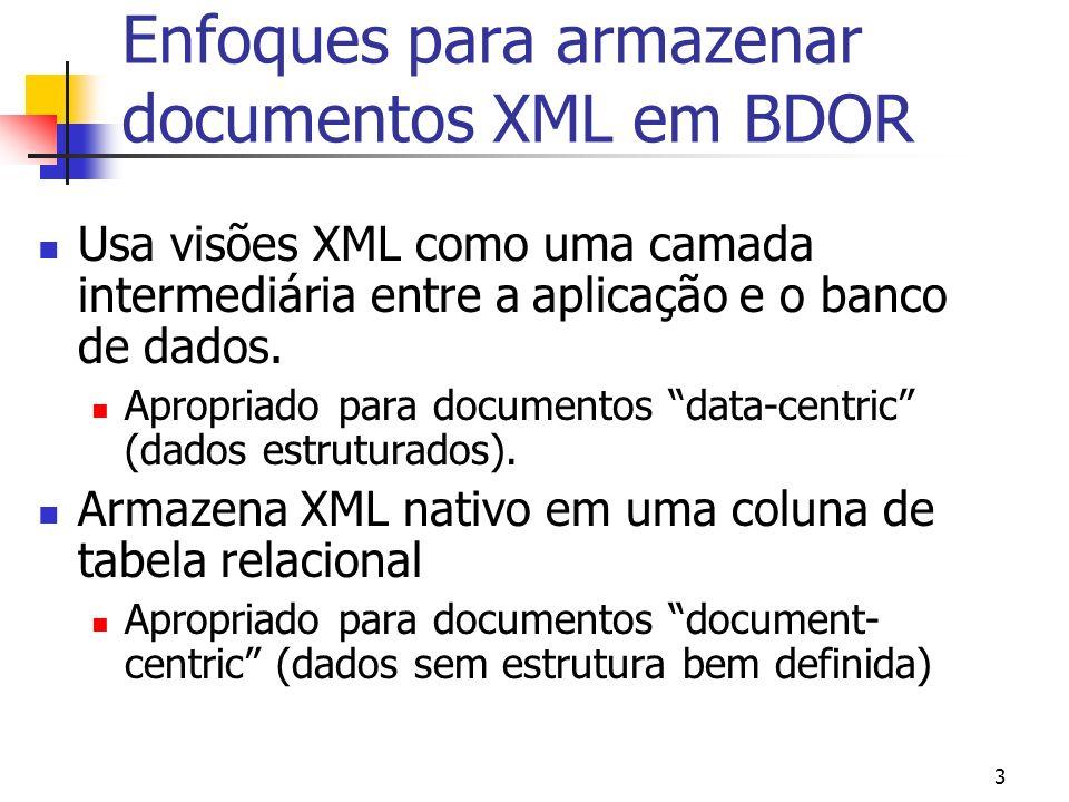 Enfoques para armazenar documentos XML em BDOR