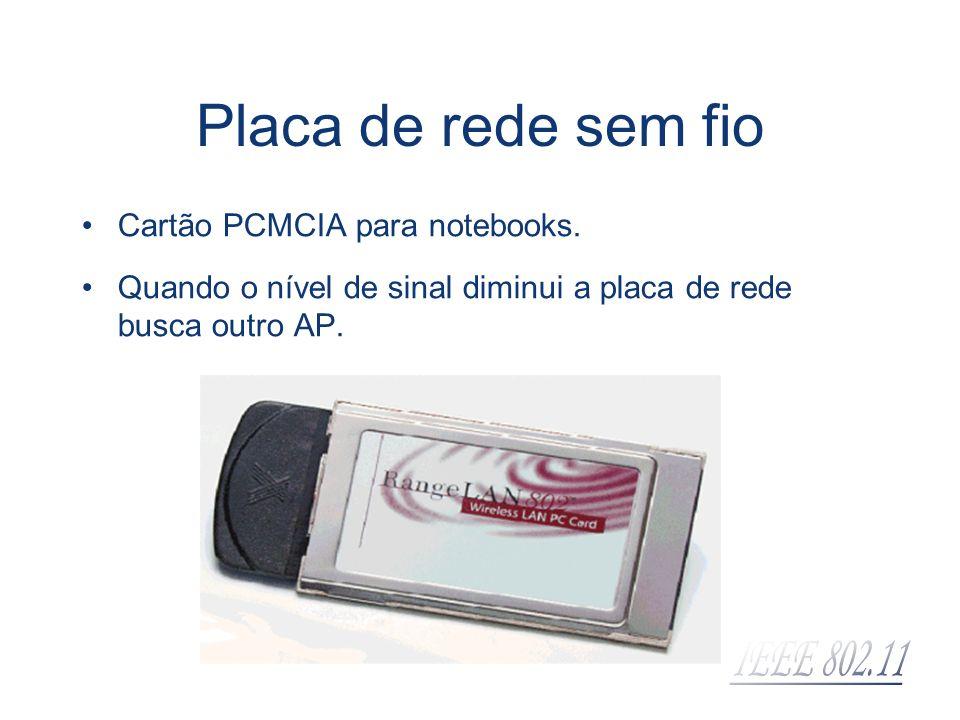Placa de rede sem fio Cartão PCMCIA para notebooks.