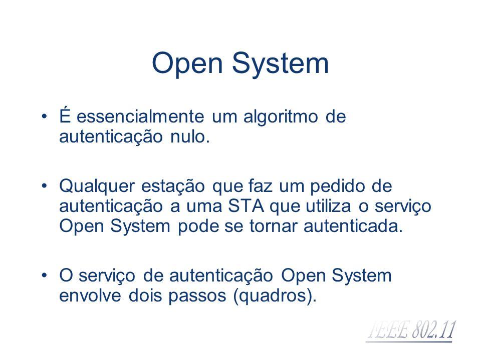 Open System É essencialmente um algoritmo de autenticação nulo.