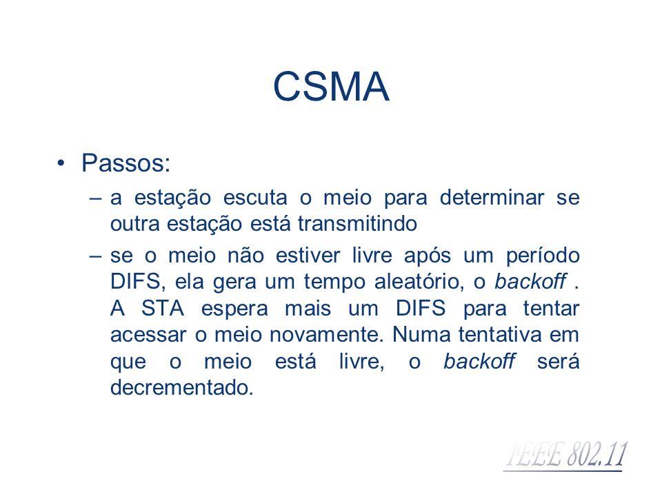 CSMA Passos: a estação escuta o meio para determinar se outra estação está transmitindo.