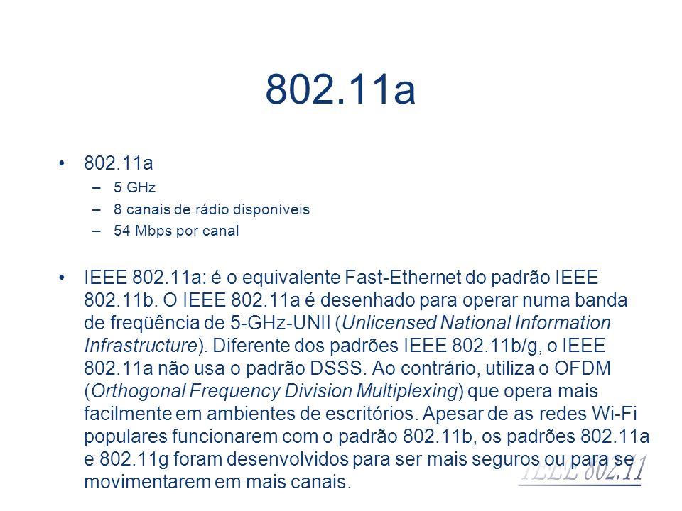 802.11a 802.11a. 5 GHz. 8 canais de rádio disponíveis. 54 Mbps por canal.