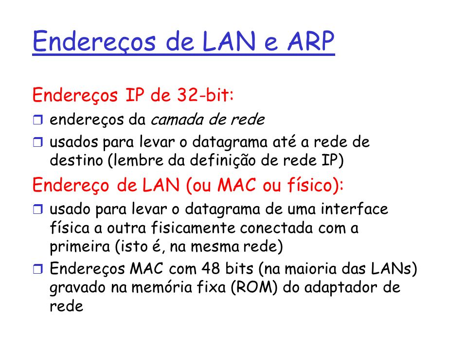 Endereços de LAN e ARP Endereços IP de 32-bit: