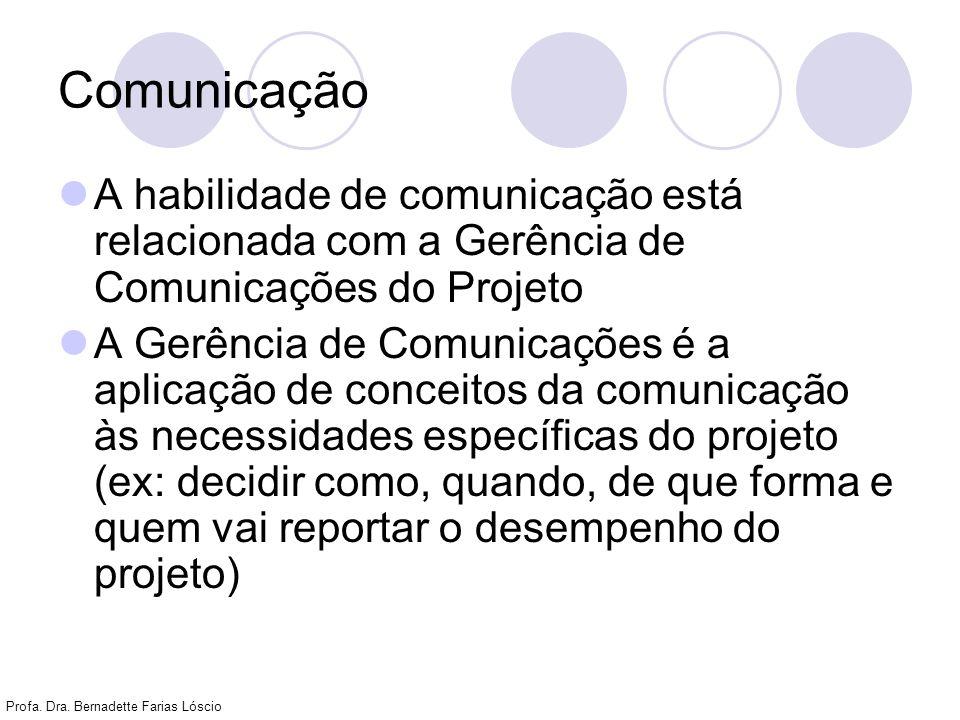 Comunicação A habilidade de comunicação está relacionada com a Gerência de Comunicações do Projeto.
