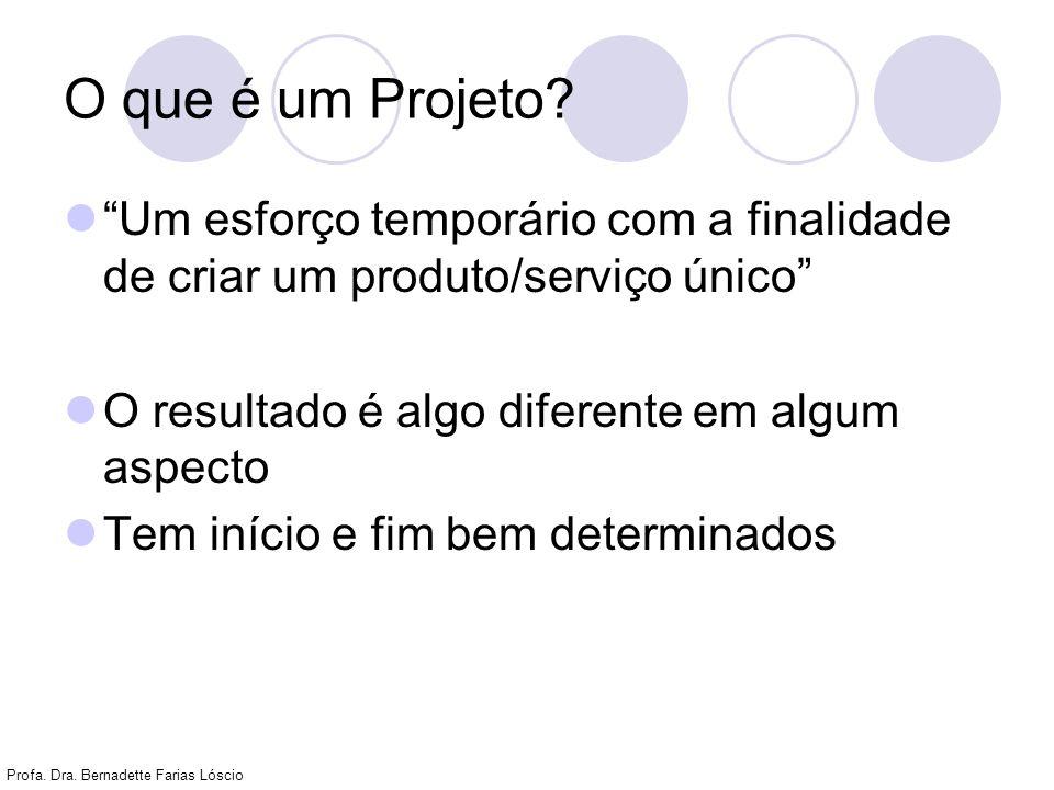 O que é um Projeto Um esforço temporário com a finalidade de criar um produto/serviço único O resultado é algo diferente em algum aspecto.