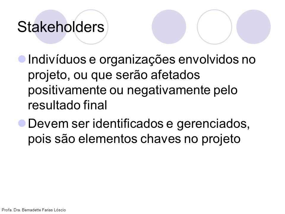 StakeholdersIndivíduos e organizações envolvidos no projeto, ou que serão afetados positivamente ou negativamente pelo resultado final.