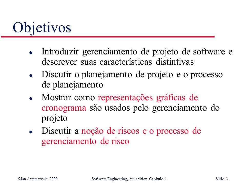 Objetivos Introduzir gerenciamento de projeto de software e descrever suas características distintivas.