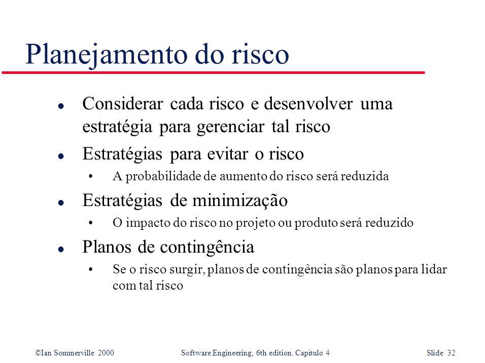 Planejamento do risco Considerar cada risco e desenvolver uma estratégia para gerenciar tal risco. Estratégias para evitar o risco.