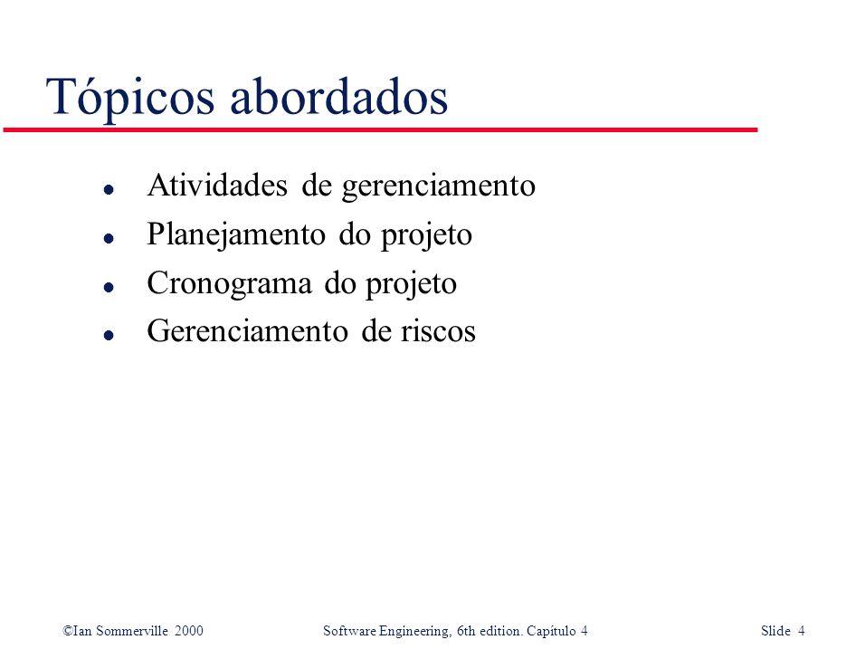 Tópicos abordados Atividades de gerenciamento Planejamento do projeto
